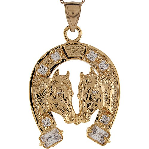 Jewelry Liquidation 14k Yellow Gold White CZ Double Horse Heads Lucky Horseshoe Charm Pendant