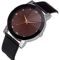AutumnFall Fashion Women Convex Stainless Steel Dial Leather Band Analog Quartz Wrist Watch.Style 2 (Black)
