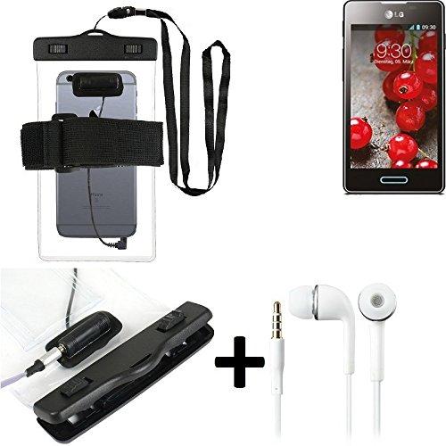 Estuche estanco al agua con entrada de auriculares para LG Electronics Optimus L5 II + auricular incluido, transparente   Trotar bolsa de playa al aire libre caja brazalete del teléfono caso de cáscar