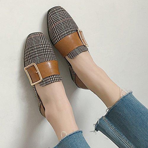De Zapatos A Solo La GAOLIM Muelle Planos Salvajes Zapatos La Mujer Cabeza Hebilla Zapatos Mujer En Cuadrícula En Brown La Zapatos De El A CXC6qwOnUF