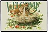 Bunny Rabbit Holly Berry Welcome Indoor/Outdoor Doormat