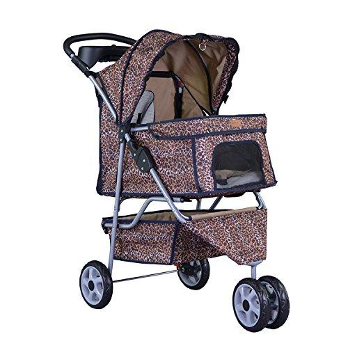 BestPet New Leopard Skin 3 Wheels Pet Dog Cat Stroller w/RainCover