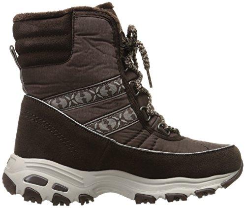 Collar Boot Fur Women's D'Lites Heathered Skechers Winter Faux Chateau Chocolate qA0Xq7w