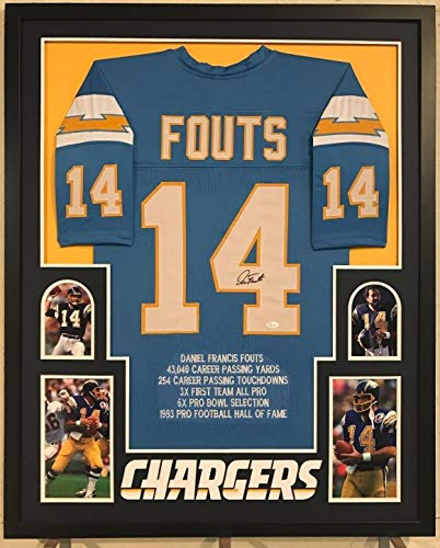 Framed Dan Fouts Autographed Signed San Diego Chargers Stat Jersey - JSA Authentication ()