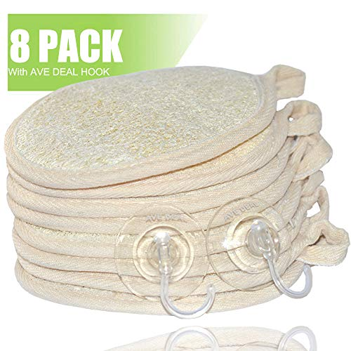 Exfoliating Loofah Sponge Pads (Pack of 8) - Large 4x6-100% Natural Luffa and Terry Cloth Materials Loofa Sponge Scrubber Body Glove - Men and Women