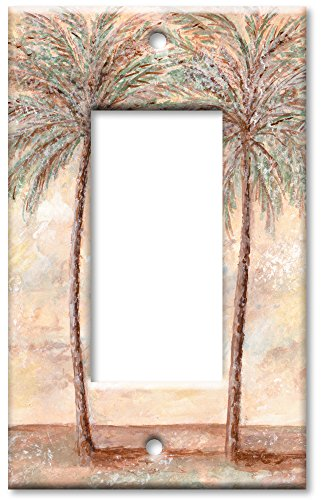 Single Gang Rocker Wall Plate - Palm Trees