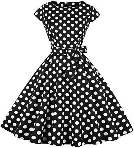 1950s Print Cotton - Womens Vintage 1950s Cap Sleeve Swing Dress Floral Print a-Line Party Cocktail Dress Dr04 (blk dots, L)
