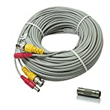SEECOM 60ft BNC Video And DC Surveillance Cable Pre-made All-in-One Siamese Combo Cords Ready For for 1080P/720P TVI CVI AHD and HD-SDI Cameras and Analog CCTV Security Cameras