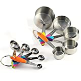 ACA Kitchen 10 Pieces Stainless Steel Measuring Cups and Spoons Stackable Set