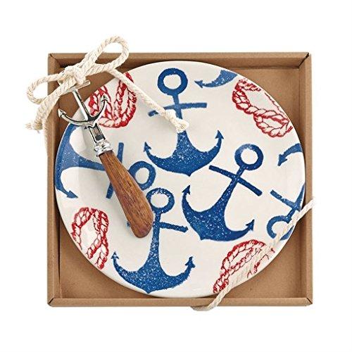 Mud Pie Gifts Anchor Hand Stamped Cheese Set w Anchor Spreader (Spreader Pie Mud)