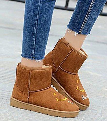 Idifu Mujeres Sweet Smile Print Flat Fleece Forrado De Imitación De Gamuza Botas De Nieve Tobillo High Winter Zapatos Brown