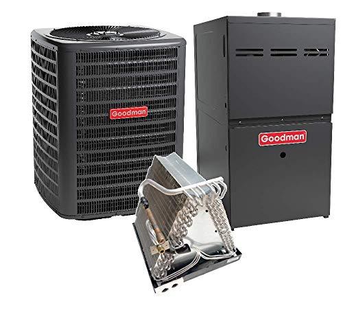 - Goodman 3.5 Ton 14 SEER Heat Pump GSZ140421, Coil CAUF4961C6, 100,000 BTU 80% AFUE Upflow Gas Furnace GMH81005CX