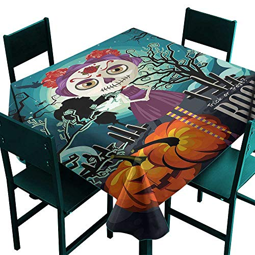 Warm Family Halloween Fabric Dust-Proof Table Cover Cartoon Girl with Sugar Skull Makeup Retro Seasonal Artwork Swirled Trees Boo Great for Buffet Table W63 x L63 -