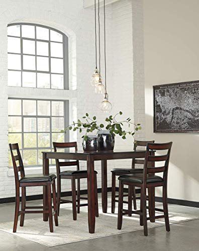Signature Design by Ashley Coviar Counter Height Dining Room Table and Bar Stools (Set of 5), Brown