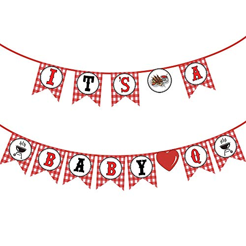 Baby Q Banner Outdoor BBQ Party Decor for Happy Birthday, Wedding, Baby Shower Banner, Graduation Party Supplies