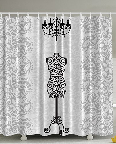 Think Yes Gray Shower Curtain Female Dress Form Mannequin Black Chandelier White Lace Home Woman Fashion Theme Item Bathroom Decorating Modern Art Print Polyester Fabric Shower Curtain
