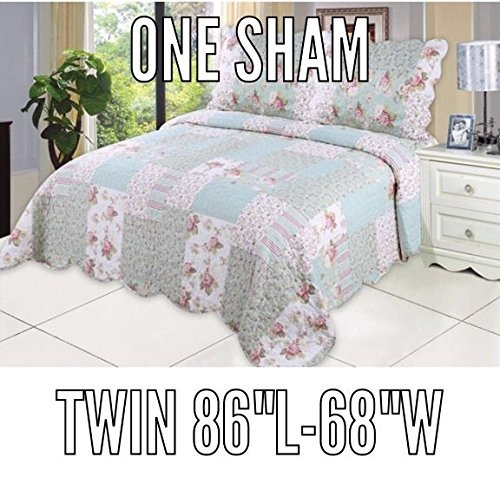 Country Twin Size Bed - English Roses Quilt set, Cotton rich,prewashed, preshrunk.As bedspread, bedcover,coverlet, bed throw