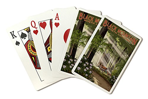 Black Mountain, North Carolina - Deer in Forest (Playing Card Deck - 52 Card Poker Size with Jokers)