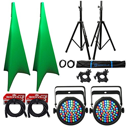 2) Rockville Tripod DJ Speaker Stands+Scrim Werks White Covers+Lights+Bag+Cables by Rockville