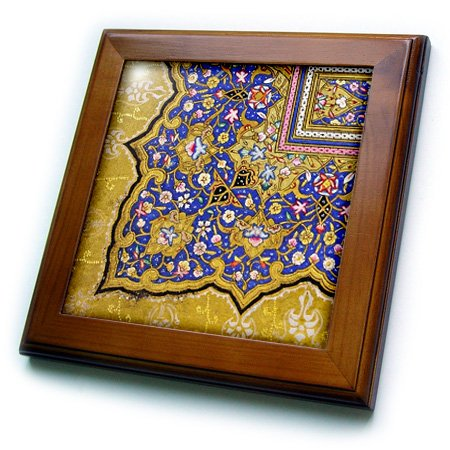 InspirationzStore Vintage Art - Purple and matte gold Arabian floral pattern. Persian style flowers and swirls. Arab Islamic Turkish - 8x8 Framed Tile (ft_162530_1) - Persian Decorative Arts