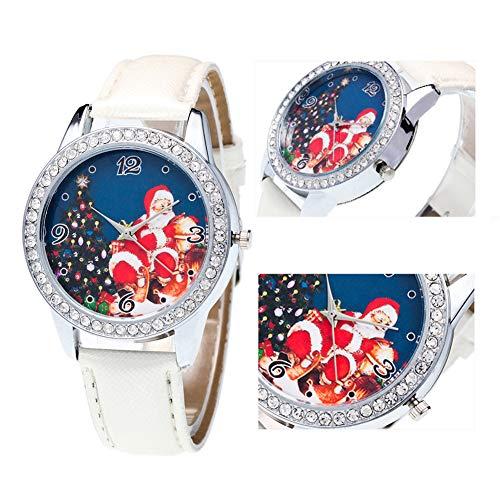 Christmas Pattern Rhinestone Dial Faux Leather Strap Couples Analog Quartz Wristwatch by Gaweb (Image #4)