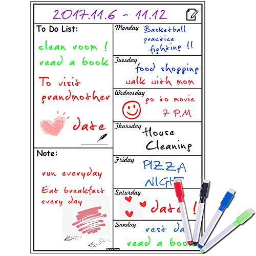 Magnetic Whiteboard Calendar for Fridge,Ideal for Menu Planner, Memo,Event Reminder,Monthly or Weekly Shopping List,Includes 4 Free Dry Erase Colour Markers,42cm x 30cm (Planner Magnetic Grid)