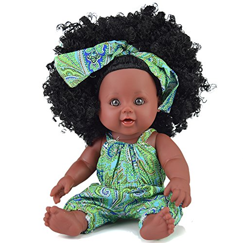TUSALMO 2019 Newest 12 inch Lifelike Silicone Vinyl Dolls, African American Black Dolls, give for Kids and Girl Holiday Birthday Gift, Reborn Baby Doll - Vinyl Baby Girl Doll
