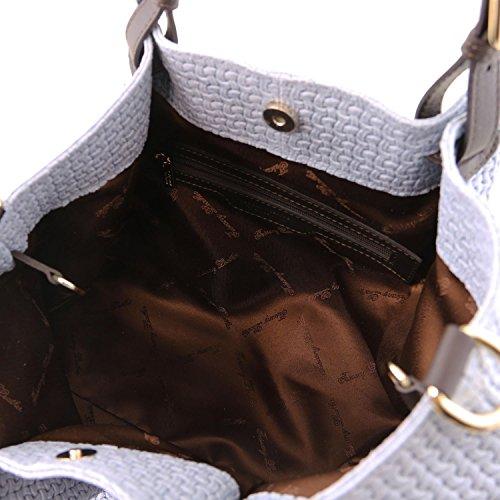 A Un Precio Barato Para La Venta Tuscany Leather TL KeyLuck Borsa shopping TL SMART in pelle stampa intrecciata - Misura Grande Nero Celeste Nicekicks En Venta KUATSPyH