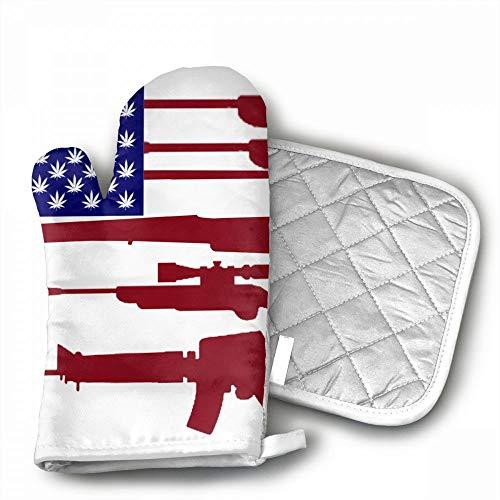 Gun Marijuana Weed USA Flag.jpg Oven Mitts,Professional Heat