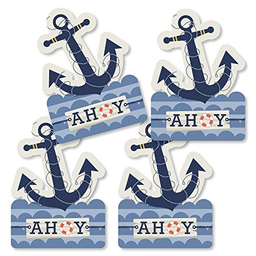 Ahoy - Nautical - Anchor Shaped Decorations DIY Baby Shower or Birthday Party Essentials - Set of 20 -