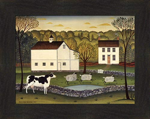 (Home Cabin Décor White Farm by Diane Ulmer Pedersen 16x20 Saltbox House Barn Cow Sheep Pond Framed Folk Art Print Picture)