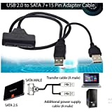 "USB 2.0 to SATA Serial ATA 15+7 22P Adapter Cable For 2.5"" HDD Laptop Hard Drive UK Shop"