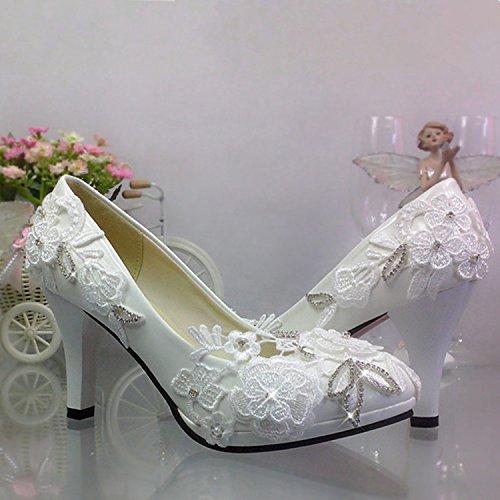JINGXINSTORE Pizzo con Heeled da Bianco Diamond scollo scarpe sposa donna da abito rotondo scarpe High Bianco matrimonio YIIqTrd