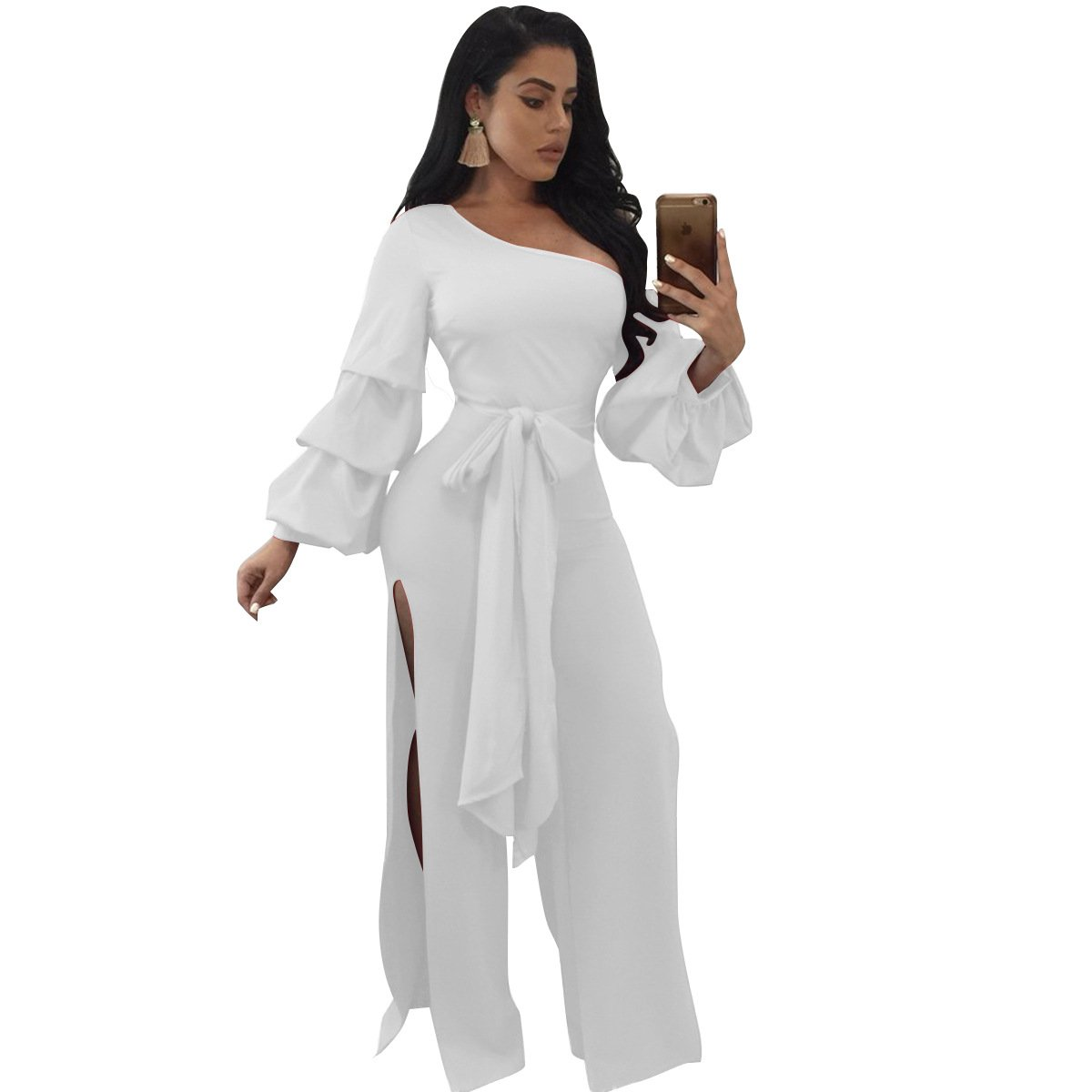 Speedle Womens Sloping Shoulder Long Sleeves Double Layers Lace up Split Jumpsuit Romper White L