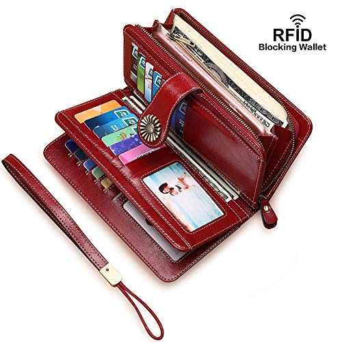 Women Wallets RFID Blocking Genuine Leather Ladies Wallets, Long Trifold Clutch Purse, Large Capacity Zipper Wallet ¡­ (Wine Red)