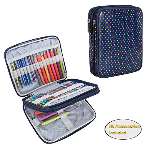 Teamoy Organizer Case for Interchangeable Circular Knitting Needles, Crochet Hooks and Knitting Accessories, Keep All in One Place and Easy to Carry, Colorful Dots (No Accessories ()