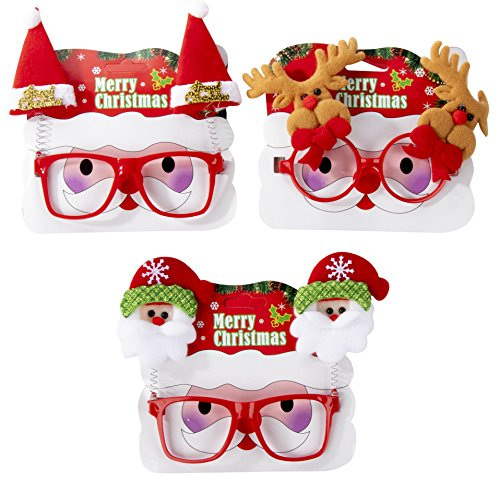 Novelty Christmas Headwear - 3-Pack Christmas Glasses - Novelty Party