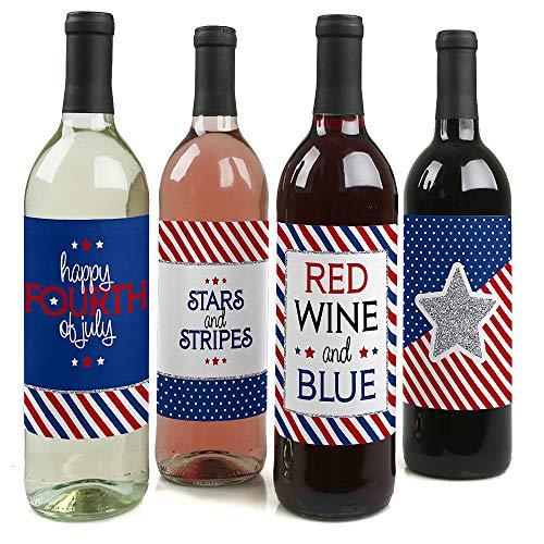 4th of July - Independence Day Decorations for Women and Men - Wine Bottle Label Stickers - Set of - Label Patriotic