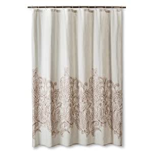 Threshold Kareem Embroidered Paisley Shower Curtain Toffee Beachcomber Home