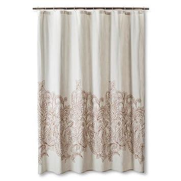 Threshold™ Kareem Embroidered Paisley Shower Curtain   Toffee/Beachcomber
