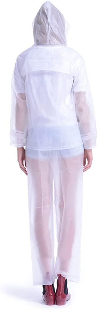 Women Hooded Raincoat Fast Dry Cute Waterproof Lightweight Rainwear Pants Coat Suits White