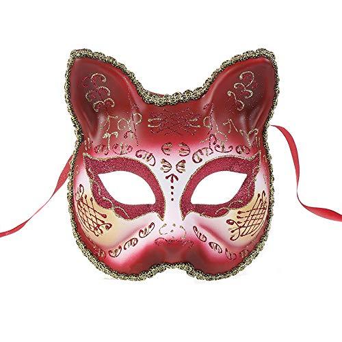 Vetasac Venetian Masquerade Masks for Women Cat Face Party Ball Mardi Gras Halloween Christmas Carnivals Masks XP006 (Wine Red)]()