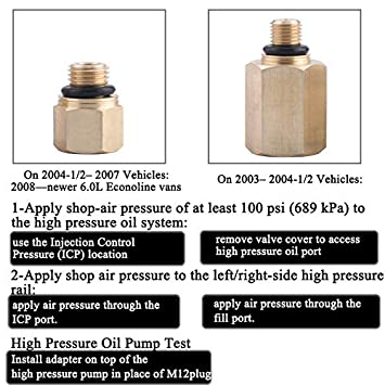 EVIL ENERGY High Pressure System Oil Pump 1//4 npt IPR Air Test Adapter Tool for Ford 6.0L Diesel Vehicles