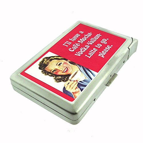 Funny Cigarette - Cigarette Case with Built in Lighter Funny Bar Drinking Signs Ads S16 Smoking King Size Cigarettes Silver Metal Wallet 4