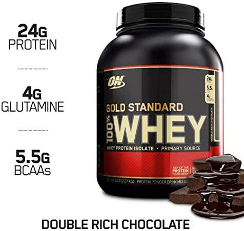 Optimum Nutrition Gold Standard 100 Whey Protein Powder, Double Rich Chocolate, 5 Pound