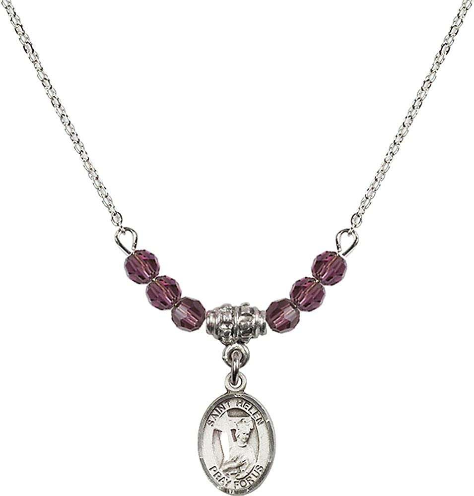 18-Inch Rhodium Plated Necklace with 4mm Amethyst Birthstone Beads and Sterling Silver Saint Helen Charm.