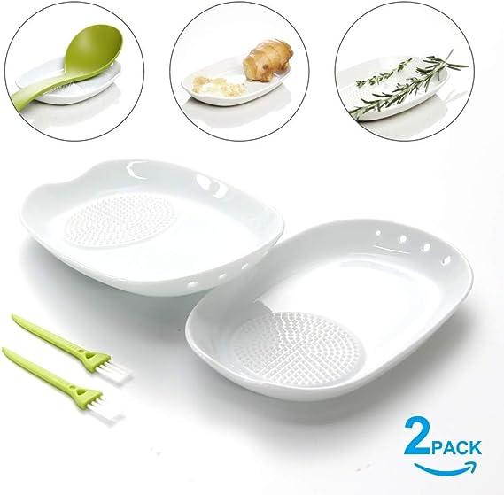 Compra Kitchendao - Rallador de jengibre de cerámica 3 en 1 con cepillo pequeño, 2 unidades, placa de rallador de porcelana para jengibre, ajo, cebolla y más, fácil de limpiar y almacenar en Amazon.es
