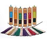 Habitat Union Incense Set with Wood Holder and Wood Box, 216 Sticks, Assorted Scent Sandalwood, Patchouli, Jasmine, Lavender, Vanilla, Rose, Lemongrass, (Keep Calm Incense Set with Wooden Holder)
