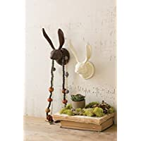 Kalalou Cast Iron Rabbit Wall Hook Rustic Antique White Finish with Mounting Screws, 7.2 Inches Long By 3.25 Inches Tall By 4 Inches Wide Parent