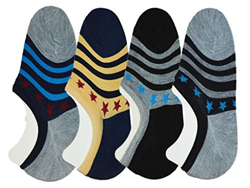 Me Stores Men's Loafer Socks Solid Socks No Show Socks with Silicon Support  Pack Of 4